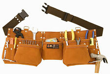 9 Pocket Suede Leather Tool Bag Pouch Belt