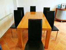 Heal's UK Linear Dining Table Oak & six IMS Italian chairs (2003)