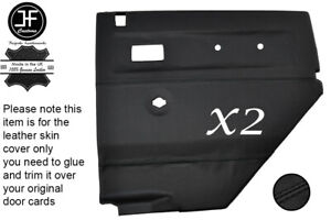 BLACK STITCH LEATHER 2X REAR DOOR CARDS COVERS FOR LAND ROVER DEFENDER 90 110