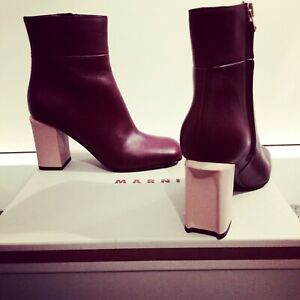 Marni Burgundy and Pink Heel Leather Ankle Boots UK4 EU37