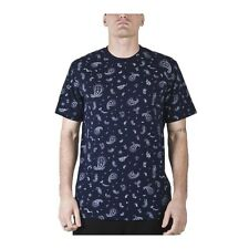 L-R-G lrg SOCIALITES Poly COTTON Crew PAISLEY Navy SHORT Sleeved T-SHIRT Mens sz