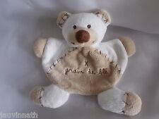 Doudou ours blanc et marron clair, Grain de blé