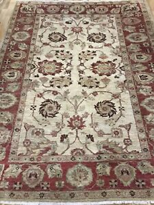 "vintage old hand made rug/zieglar/jon lewis wool 7ft5""x5ft7"""