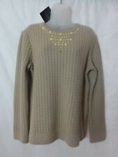 St. John Sport Womens Wool blend cable Knit  Sweater beige sz XL  nwt  $755