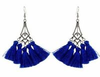 Bohemian Pair of Tear Drop Shape Dark Blue Tassel Dangle Earrings # 499