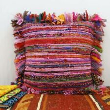 "16X16"" HANDMADE RUG RAG VINTAGE INDIAN PILLOW MULTI CHINDI COTTON CUSHION COVER"