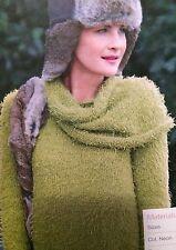 Suéter señoras con cuello separados (S, M, L, XL, XXL) Tejer patrón