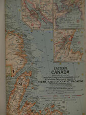 Vintage 1967 National Geographic Map of the Eastern Canada