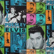 BonEful Fabric Cotton Quilt Elvis Presley Music Guitar Patchwork B&W 99 FQ SCRAP