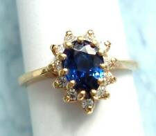 CEYLON SAPPHIRE, PEAR SHAPE WITH DIAMONDS, 14K RING