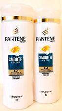 2 Bottles Pantene Pro V 12.6 Oz Smooth & Sleek 2 In 1 Shampoo & Conditioner
