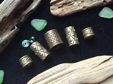 5 X Bronce rastas cuentas Celta Vikingo Barba Anillos Mix 6-10 mm Hole Antiguo Reino Unido