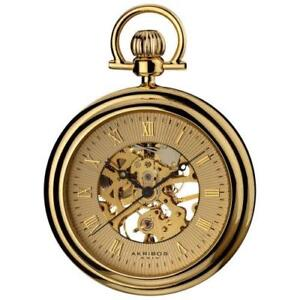 Akribos XXIV AK453YG Mechanical Skeleton Stainless Steel Mens Pocket Watch