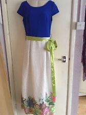 La Pateau Dress, Maxi, Blue And White, Size 8UK
