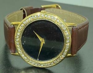 GUCCI MENS 3000M GOLD TONE STAINLESS STEEL DIAMOND WATCH