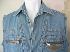Harley Davidson Denim Sleeveless Shirt Vest Men's Medium Zipper Pockets Logo