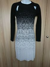 French Connection Womens Long Sleeve Black/Ivory Bodycon Dress Size 10