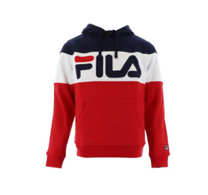 FILA Hoodie Mens Authentic Flamino ColorBlock Loose Fit Soft Fleece Sweatshirt