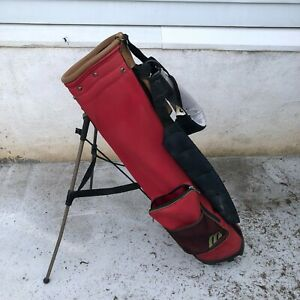Mizuno Golf Bag With Stand Lightweight Red canvas and brown in good shape