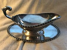 VINTAGE SILVER GRAVY BOAT WITH DISH!!  GORGEOUS!!