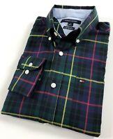 TOMMY HILFIGER Shirt Men's Brushed Twill Green Multi Tartan Checks Custom Fit