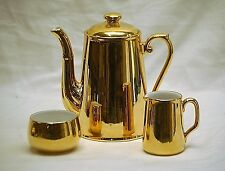 Old Vintage Royal Worcester England Luster Gold Coffee Pot Creamer & Sugar Bowl