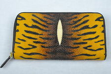 Portefeuille long femme luxe cuir de galuchat noir-jaune