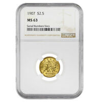 1907 $2.5 Liberty Head Quarter Eagle Gold Coin NGC MS 63