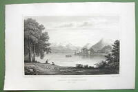 SWITZERLAND Chateau of Scherylingen Lake Thun - 1820 Antique Print by Cpt Batty