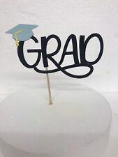 Graduation cake topper, Black Glitter Grad With Blue Hat(Mortarboard)