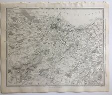 Vintage Original 1845 Topographic Map & Drawings 'Environs of Edinburgh'Scotland