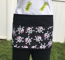 Black Short/Petite Skulls server waitress waist apron 3 pocket restaurant