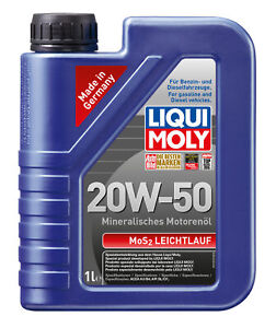 Liqui Moly Mos2 Engine Oil 20W-50 1L fits Lancia Flaminia 2.5 Coupe, 2.5 GT, ...