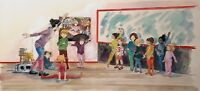 1991 SIGNED DANCE CLASS INTERIOR STUDY ILLUSTRATION MIXED MEDIA PAINTING