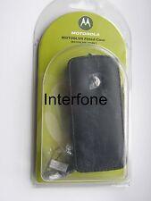 NEU Motorola schwarz Leder Tasche & Gurt für L2, L6 & L7 Handys