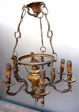 Ancien lustre suspension bronze doré XIXème @