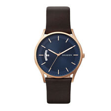 Skagen Holst Dark Brown Leather Day Date Watch SKW6395