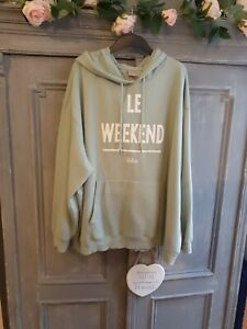 H&M Oversized Plus Size Hoodie Mint Green With Logo To Front