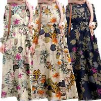 Women Muslim Puff Sleeve Long Maxi Dress Pleated Floral Print Maxi Sundress Plus