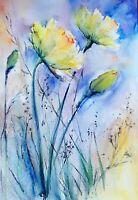 Original Aquarell watercolor 40x30cm Frühling Blumen Geburtstag Geschenk