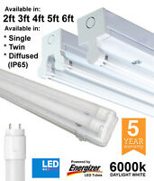 T8 LED Batten Fittings Single, Twin & IP65 2ft 4ft 5ft 6ft With Energizer Tubes