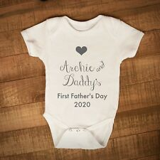 Personalised First Fathers Day Baby Vest, Happy Fathers Day Baby Grow 2020