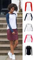 Ladies Womens Long Sleeve Raglan Baseball T Shirt Jersey Top Fancy Dress Summer