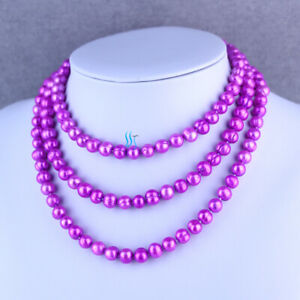 """50"""" 7-9mm Deep Pink Freshwater Pearl Necklace Strand Jewelry"""