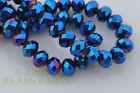 10pcs 8X12mm Rondelle Faceted Loose Spacer Crystal Glass Beads Craft Blue Plated