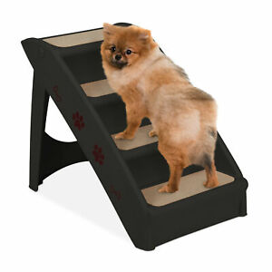 Dog Stairs Cat Access Ramp 4 Steps Climbing Aid Foldable Big & Small Pets