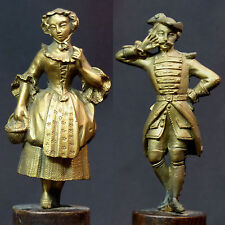 18èm rare couple statuette statue bronze doré 18c900g militaire dame romantique