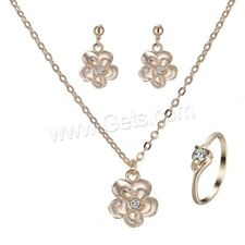 Gold Color Flower Pendant on a Chain with Matching Earrings and ring