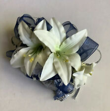 White Lily Navy Silver Crystal Wrist Corsage Wristlet