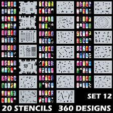 Set 12 360 Airbrush Nail Art Stencil Designs 20 Template Sheets Kit Brush Paint